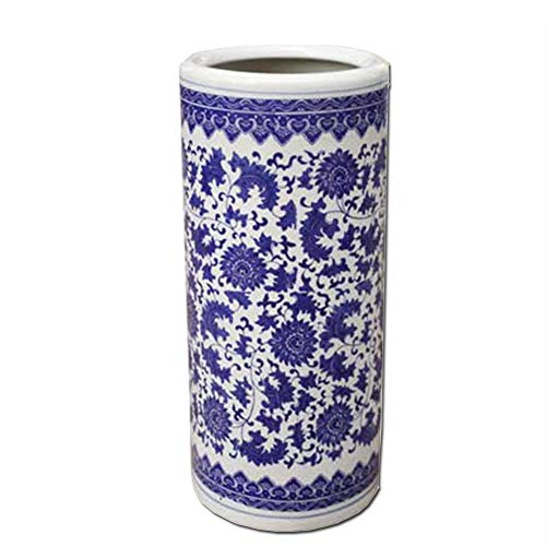 AOOJIA Stile Cinese Ceramica Portaombrelli Corridoio Rotondo Rimovibile Ombrello Contenitore Salvaspazio Freestanding Robusto Decorazioni Ufficio Casa -Loto 50x22cm(20x9in)