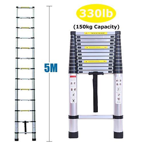 Teleskop-Leiter, 5 m, Aluminium, Mehrzweck-Leiter, strapazierfähig, rutschfeste Kletterstufen, Traglast nach EN131 zertifiziert