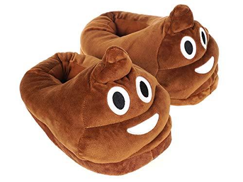 Witzige Hausschuhe mit Kothaufen Emoji   Größe: 35 - 41   Braun