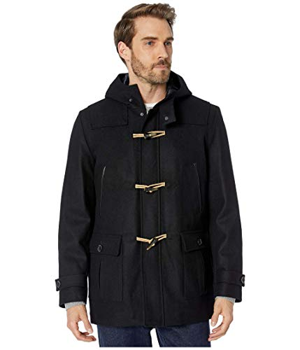 Nautica Hooded Wool Toggle Coat w/Quilted Lining Black XL