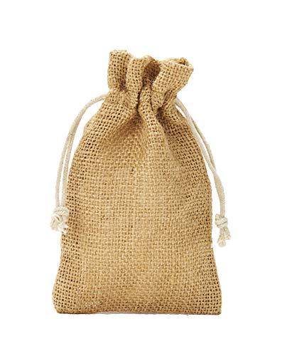 5 Jutesäckchen, Jutebeutel mit Baumwollkordel, Größe:  50x40 cm, 100% Jute, Winter-Topfschutz, Dekoration, Jute-Geschenkverpackung, Aufbewahrung (Natur)
