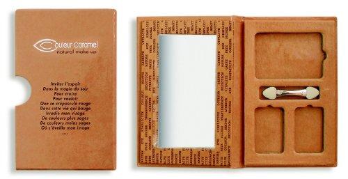 Couleur Caramel boitier 2 ombres à paupières + 1 poudre compacte vide avec couverture