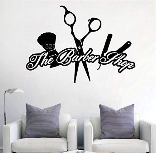 MUXIAND Muurstickers, Barber shop schaar Aangepaste naam PVC Home Decor muur Vinyl Kwekerij Kamer Interieur Lettering Art Room DIY Verjaardagscadeau Reizen Leven 80x57cm