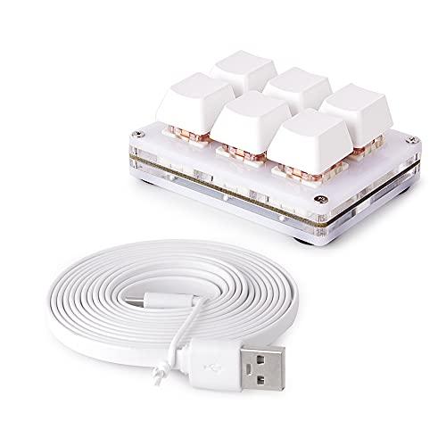 Teclado OSU Teclado para Juegos Ecarke de 6 Teclas, Mini Teclado USB de 6 Teclas Teclados de PC para Juegos mecánicos Macro de programación con Software OSU HID Teclado estándar.