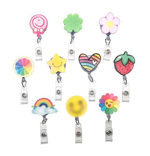 Cartoon Retractable Pull Badge Reel ID Lanyards Name Tag Card Badge Holder Clip Key Ring Chain Clips for Student Nurse Badge Holder Office, Set of 10