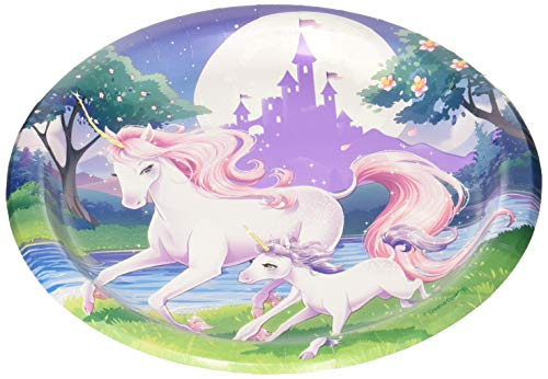 One package of 8 Unicorn Fantasy party 8 3/4 inch lunch/dinner round paper plates