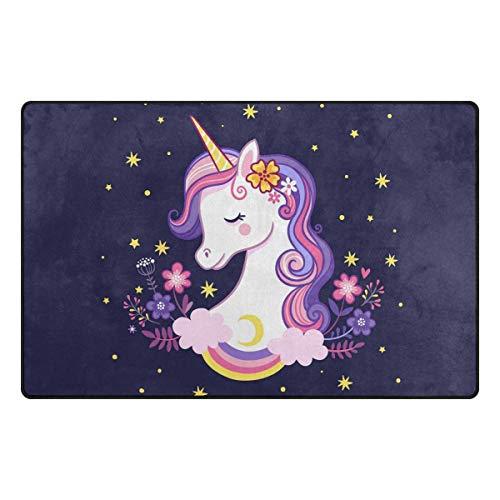 ZZAEO - Alfombra de poliéster Antideslizante, diseño de Unicornio Morado con Estrellas y arcoíris, para Sala de Estar, Dormitorio, decoración del hogar, 78,7 x 50,8 cm