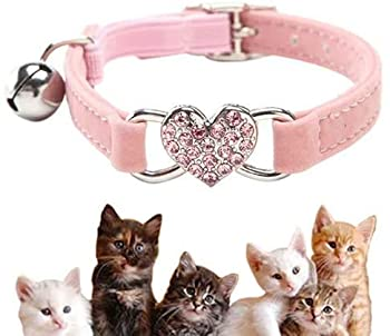 Kingkindshun Collier Chats,Collier de Chat Ajustable en Velours Doux Avec Cloche, Fourniture D'animaux Domestique Mignon,Convient à la Plupart des Chats et Petits Chiens(17cm-28cm) (Rose)
