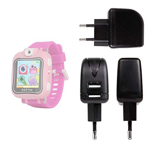 DURAGADGET Cargador con Enchufe Europeo para AGPtek W6 Reloj Inteligente para niños - con Doble Entrada USB