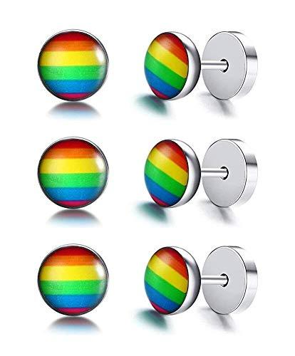 LEYOUDIAN 3 Pares de Acero Inoxidable Lesbianas Gay Pride Rainbow Raya del Punto del Perno Prisionero del Anuncio for Piercing Oreja, Arco Iris Regalo Idea