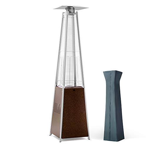 PAMAPIC Patio Heater, 42,000 BTU Quartz Glass Tube Brown Tower Propane Outdoor Heater with Cover