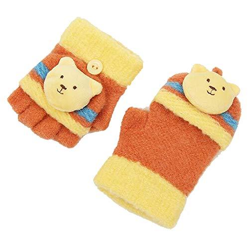 Axdwfd kind, gebreide handschoenen, winter, in de openlucht, warm, leuke cartoons, halfvinger handschoenen, 6 kleuren