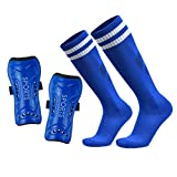 GeekSport Youth Soccer Shin Guards Toddler Soccer Shin Pads USA Child Calf Protective Gear for 3 5 4-6 7-9 10-12 Years Old Girls Boys Children Kids Teenagers with Soccer Socks Blue S 3'3-3'10 Tall