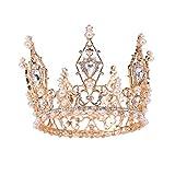 Panpan La Corona de Novia Headwear Full Circle Cristal de la Perla de la Princesa para el cumpleaños de Halloween Cena de cumpleaños Amante de la Navidad Novia,Oro