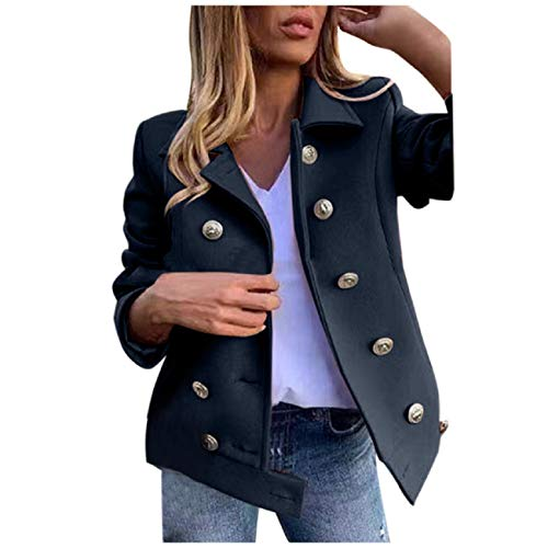 JKLING Women Lapel Collar Blazer Retro Solid Color Button Down Fall and Winter Double-Breasted Cropped Peacoat Tops Dark Blue