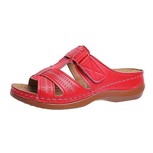 Verano Nuevo Retro Tacón De Cuña Zapatillas Femeninas Línea De Coche Antideslizante Sandalias Y Zapatillas De Mujer Zapatillas De Playa Huecas Talladas