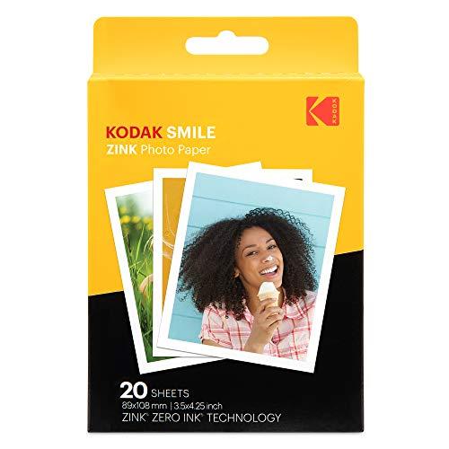 Kodak Papier photo de qualité supérieure avec impression Zink de 3,5 x 4,25 pouces (20 feuilles) compatible avec l'appareil photo Kodak Smile Classic