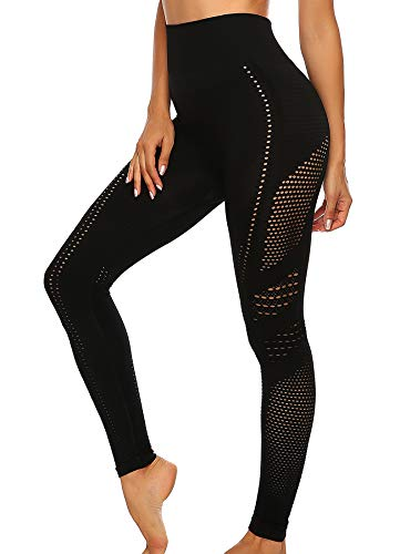 INSTINNCT Damen Yoga Lange Leggings Slim Fit Fitnesshose Sporthosen #5 Ventilationslöcher Stil - Schwarz S