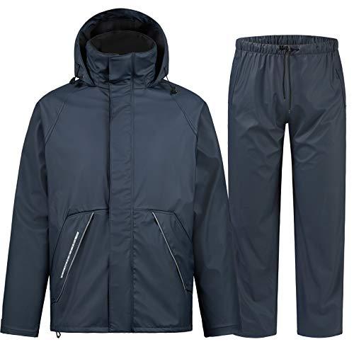 Rain Suits for Fishing Waterproof Rain Gear for Men Women Heavy Duty Rain Coat Jacket with Pants/ Overalls(Navy,M)