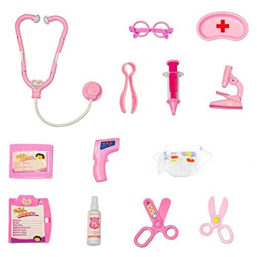LjzlSxMF Doktor Toy Kit Kinder Pretend Doktor Nurse Spielzeug aus Kunststoff rosa Rollenspiele Spielzeug-Set-Kind-Spielzeug-Set Geschenke Spritze Stethoskop Brille 13PCS
