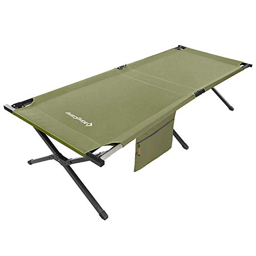 KingCamp Oversized Camping Cot 30' Wide XXL for Adults Heavy Duty Folding Sleeping with Storage Bed, for Camping Outdoors Office Use, Easy Set Up