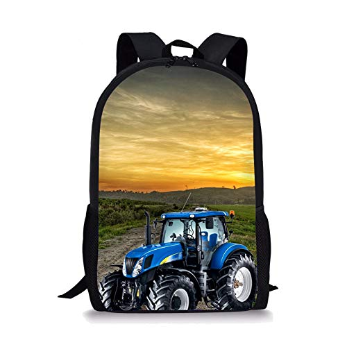3D Field Tractor and Sunset Pattern Printed School Bags, Backpacks School Bags for Teenagers Canvas Backpack
