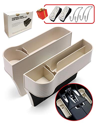 PLANTURECO Gap Filler, Car Seat Organizer with Cup Holder and USB Charging Hole, Seat Console Side Pocket with Bling Car Accessories,2 Pack (Beige)