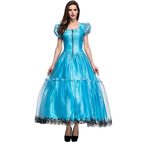 CHIYEEE Damen Märchen Prinzessin Kleid Alice im Wunderland Cosplay Halloween Party Rollenspiel Kostüm Blau XL