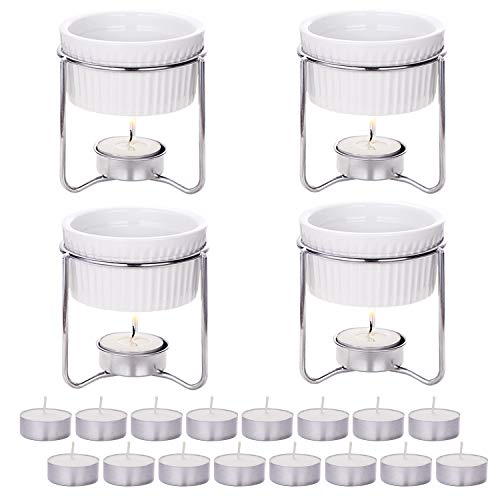 Hiware 4 Pieces Ceramic Butter Warmers with 16 Pieces Tealight Candles Set for Seafood, Fondue - Dishwasher Safe