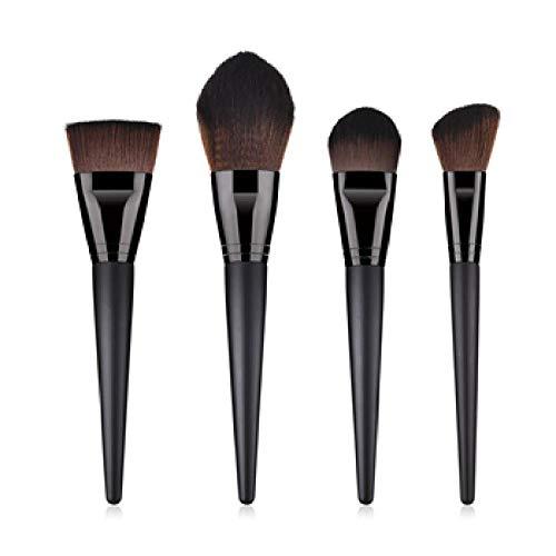 MEISINI Pinceau de maquillage Poignée en bois dense, poils ronds doux, couverture complète, poudre pour visage, pinceaux pour pinceaux contour contour blush, outil de maquillage, noir
