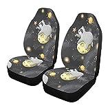 Qilmy 1 paquete de fundas de asiento delantero antideslizante para automóviles, asientos de cubo, para decoración universal, furgoneta, camioneta, SUV, bebé perezosos en planetas
