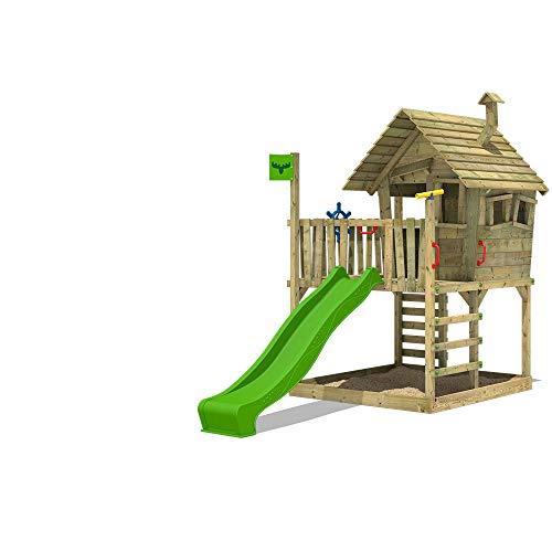 FATMOOSE Spielhaus auf Podest WackyWorld Mega XXL Spielturm Kletterturm mit Rutsche, Holzdach, Kletterleiter und großem Sandkasten