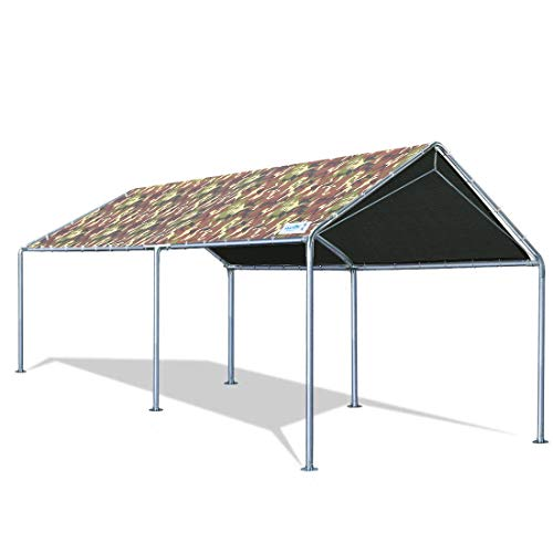 Quictent 10'X20' Upgraded Heavy Duty Carport Car Canopy Party Tent with Reinforced Steel Cables-Camo