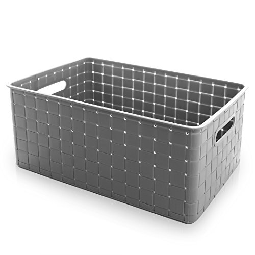 BINO Woven Plastic Storage Basket  Large (Grey)