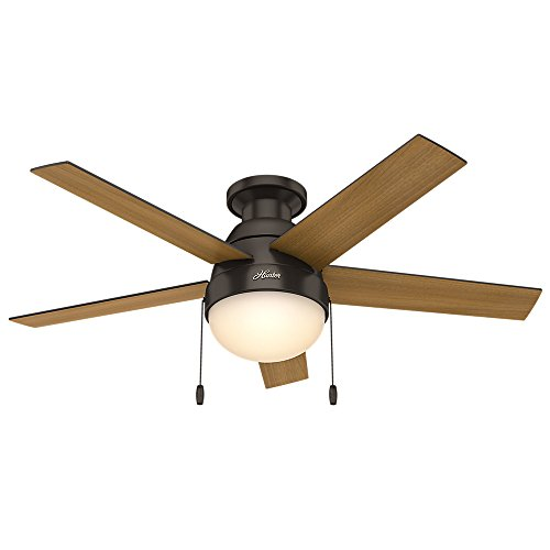 "Hunter Fan Company 59268 Hunter Anslee Indoor Low Profile Ceiling Fan with LED Light and Pull Chain Control, 46"", Premier Bronze"