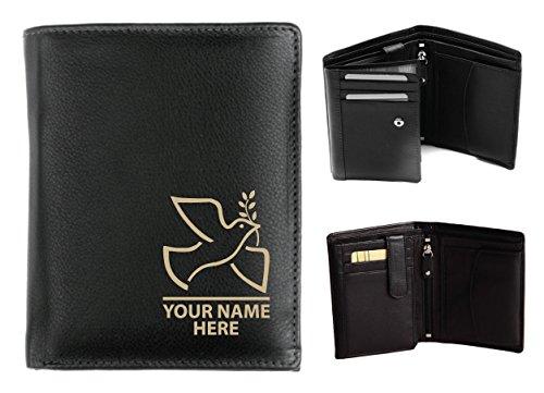Personalisierte Herren-Geldbörse Leder–Laser markiert mit ihren Namen & Taube Design, schwarz, Origin