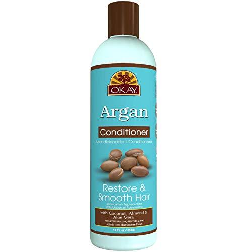 Okay Acondicionador de Argan Refrescante y Revitalizante - Con Aceites de Coco, Almendra y Aloe 355ml