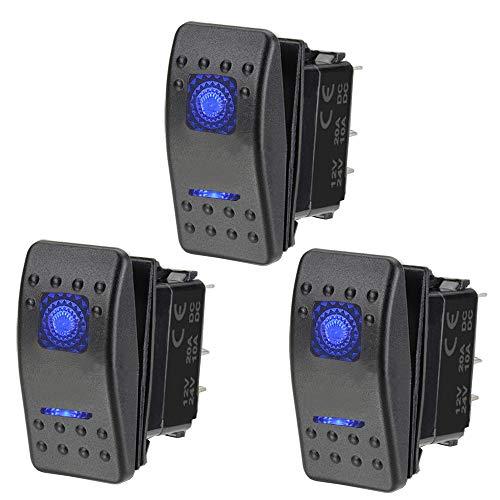 ETOPARS 3 X Coche Motor Interruptor Basculante Tablero Dos Luces Azul Encendido Apagado 5Pin SPST Interruptor Palanca Impermeable 12V 20A 24V 10A