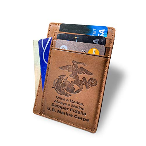 Old Dominion LLC US Marine Corps (USMC) Engraved Back Saver, Slim Wallet | Genuine Leather | Slim, Front-Pocket, or Minimalist Wallet | Marine Corps Gifts | Perfect Gift for Your Marine