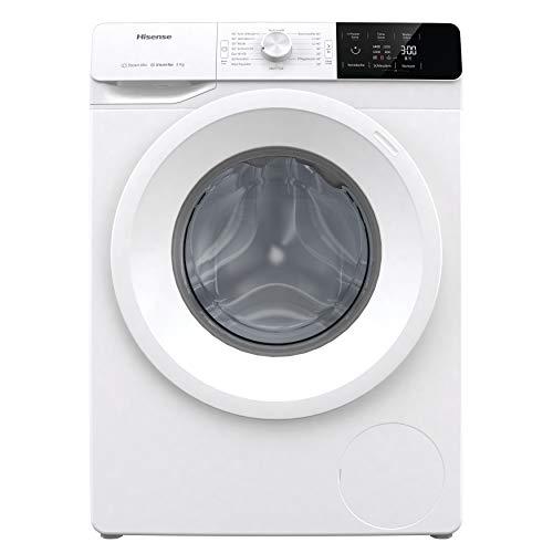 Hisense WFGE80141VM Waschmaschine mit Dampf/Inverter Motor/Aqua Stop/ 8kg/ Automatikprogramm/Wave Plus Edelstahltrommel