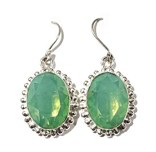 Indie Artisans Pendientes de cuarzo turmalino verde hechos a mano 925 chapados en plata 925 pendientes colgantes para mujer