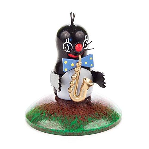 Miniatuur-mol muilen saxofoon - Dregeno houtkunst uit het Ertsgebergte - artikel 159/040/14