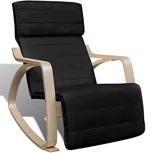 120kg Mecedora con Bug de Madera Marco plástico Ajustable Negro Sillón Relax Silla–Silla de Oficina oscilante Rocker Chair–100% poliéster