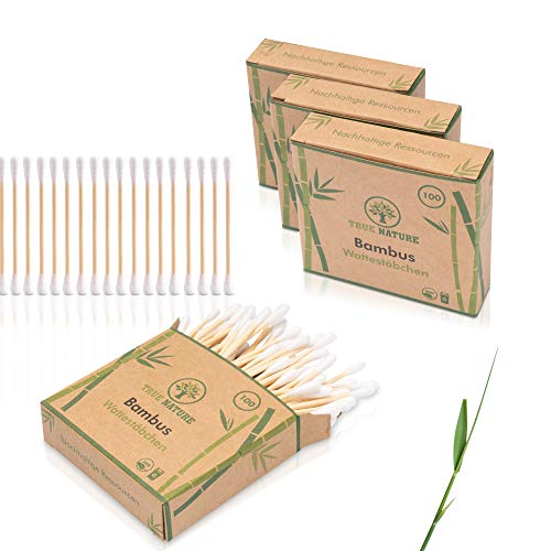 DERMATEST: SEHR GUT - TRUE NATURE® [400 Stück] Bambus Wattestäbchen ohne Plastik - Inkl. E-Book - 100{b1e706c9b19ce11a46b243a41ae73afa431ab46b462a607939c55b46a03c5bb9} biologisch abbaubare Alternative (400)