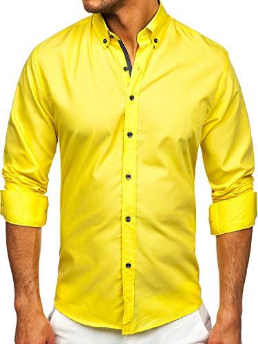 BOLF Herren Hemd Langarm Freizeithemd Hemdbluse Langarmhemd Elegant Business Party Bügelleicht Farbwahl Classic Basic Slim Fit Casual Style 20716 Gelb XL [2B2]