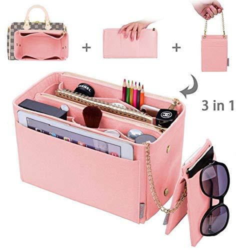 Purse Organizer bag organizer With 2 Metal Zippers RFID Blocking Pocket Purse Organizer Insert,5 Sizes 6 Color Medium Brush Pink