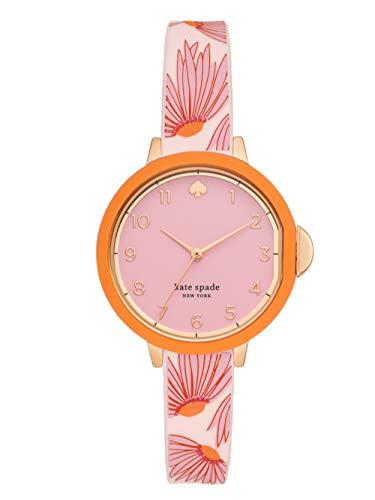 KATE SPADE Park Row Reloj de Silicona con Estampado Floral Rosa Mate de Tres manecillas para Mujer KSW1615