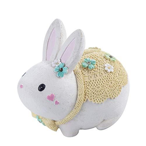 QWEA Piggy Bank-Cute Rabbit Piggy Bank, White Rabbit Bank Toy Coin Bank Decorative Saving Bank Money Bank Adorable Rabbit Figurine for Boy