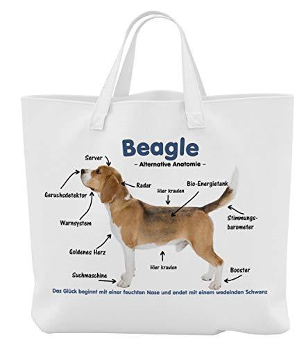 Merchandise for Fans Einkaufstasche - 45 x 42 cm x 9,5 cm, 18 Liter - Motiv: Beagle Alternative Anatomie - 01