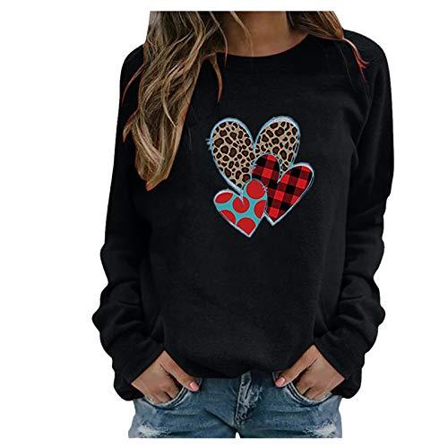 Sudadera de manga larga para mujer, de invierno, con cuello en V, estilo vintage, con estampado, con botones, ropa deportiva, para San Valentín, adolescentes y niñas